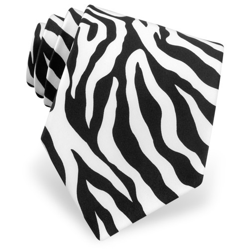 Zebra Animal Print Tie by Wild Ties &#8211; Black Microfiber